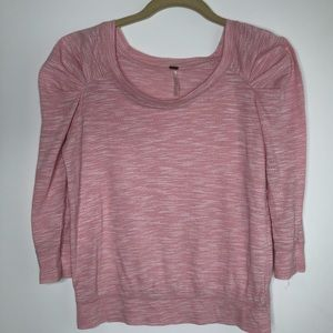 Free People pink top with puffy shoulders